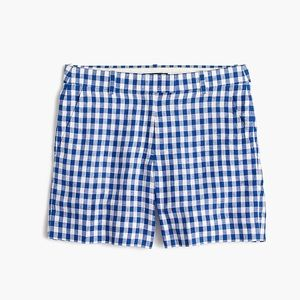 J. Crew Blue Whit Gingham Linen Casual Shorts